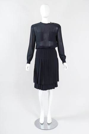 Recess Los Angeles Designer Consignment Vintage Gloria Sachs Silk Chiffon Blouse & Pleated Skirt Set