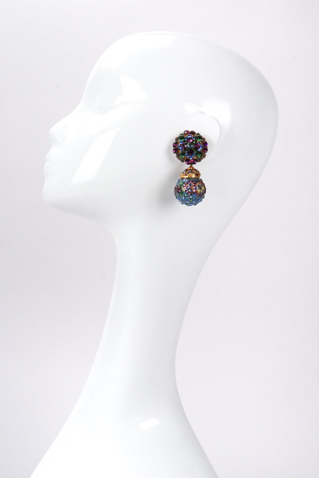 Recess Los Angeles Vintage Crystal Cloisonne Ball Drop Earrings