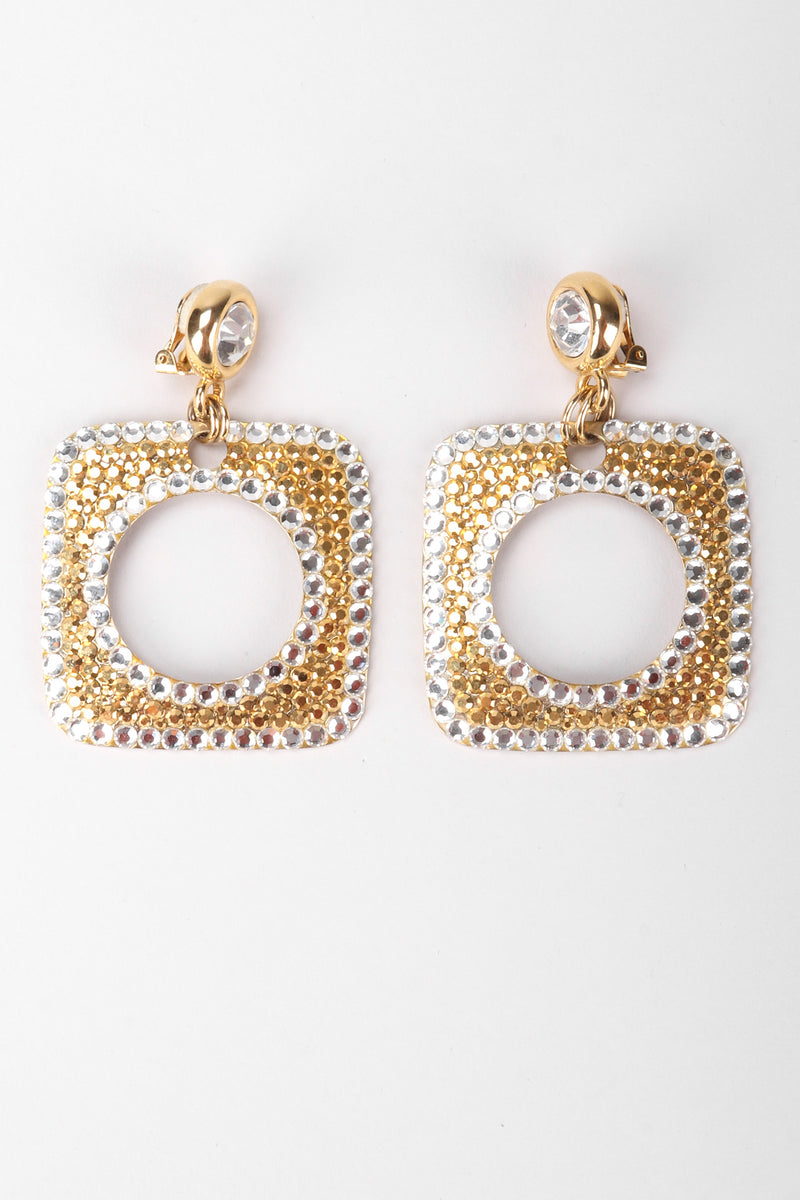 Recess Los Angeles Vintage Unsigned Gold Crystal Square Hoop Earrings