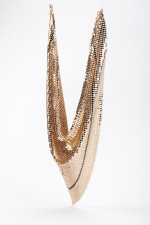 Recess Los Angeles Vintage Whiting & Davis Liquid Gold Metal Mesh Scarf Necklace