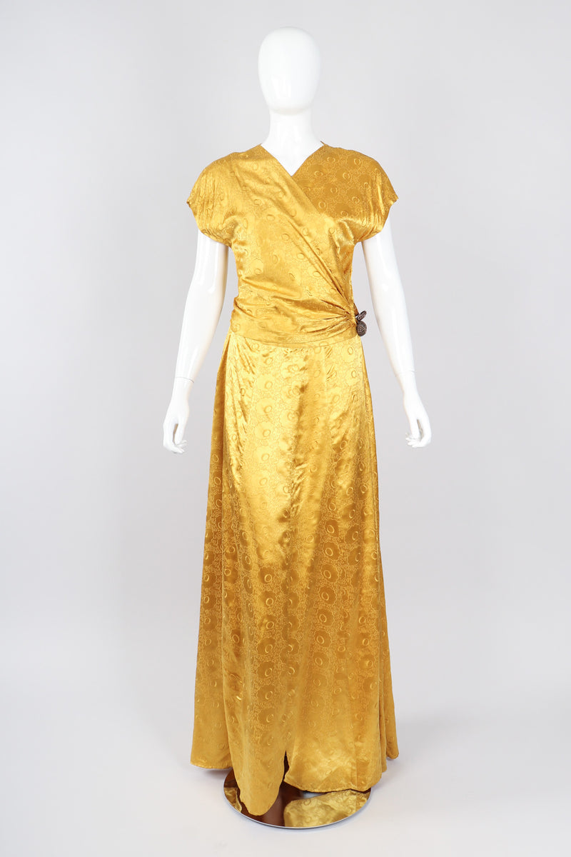 Recess Los Angeles Vintage Red Carpet Formal Event Golden Opium Poppy Satin Silk Gown Dress