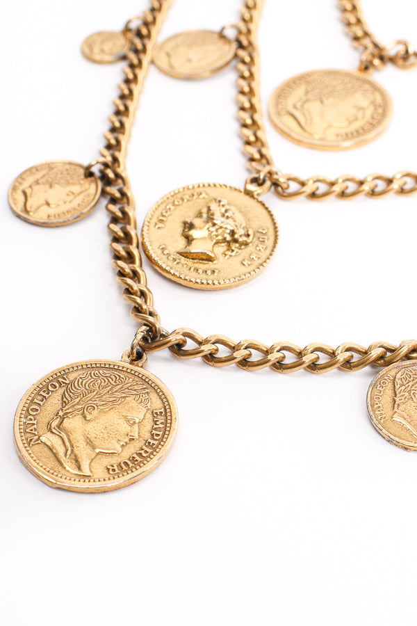 Vintage Goldette Multi-Strand Layered Coin Necklace detail at Recess Los Angeles