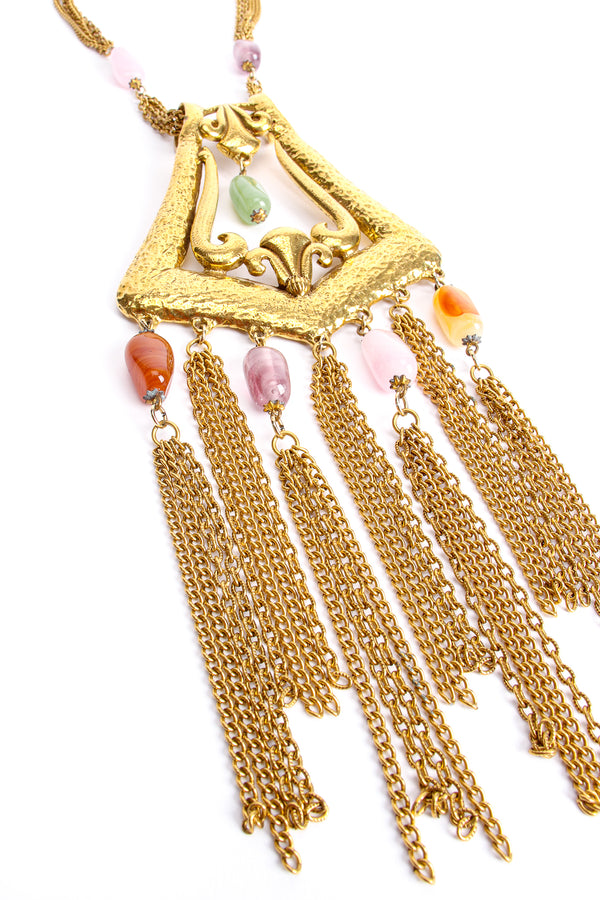 Vintage Goldette Fringe Plate Amulet Necklace detail at Recess Los Angeles