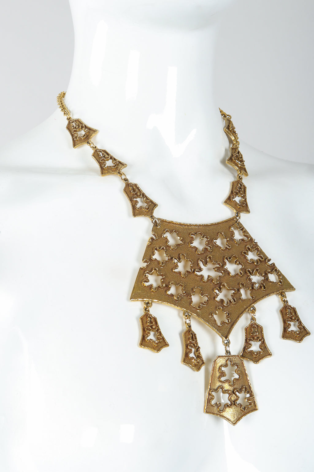 Vintage Goldette Brutalist Splatter Plate Cutout Necklace on Mannequin Close at Recess Los Angeles