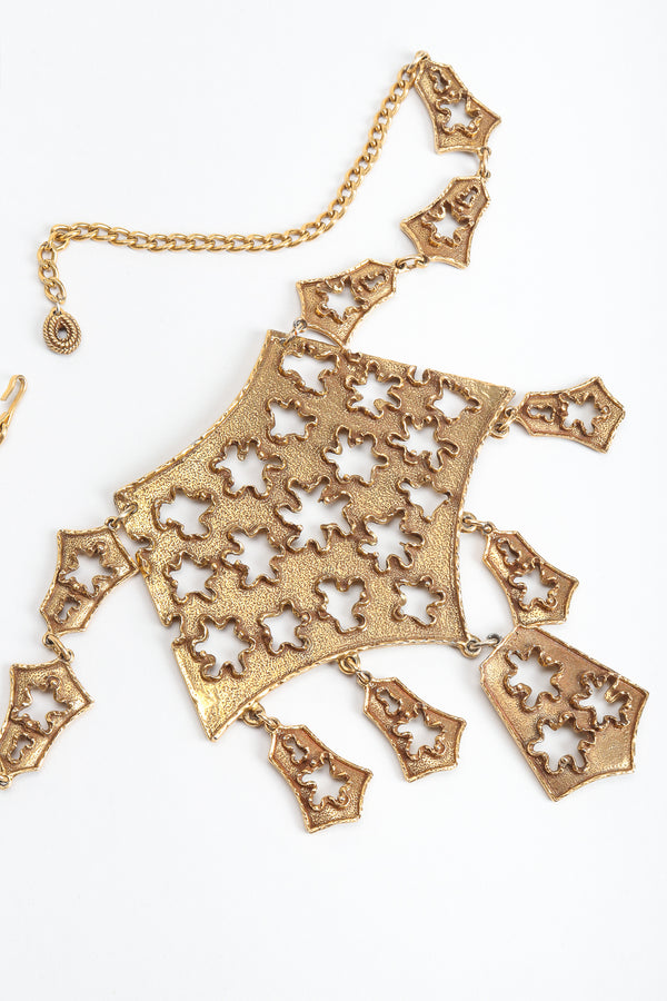 Vintage Goldette Brutalist Puzzle Plate Necklace, close up at Recess Los Angeles