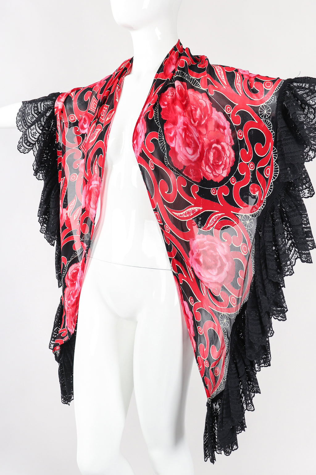 Recess Los Angeles Designer Consignment Vintage Gottex Floral Lace Sheer Chiffon Shawl Wrap