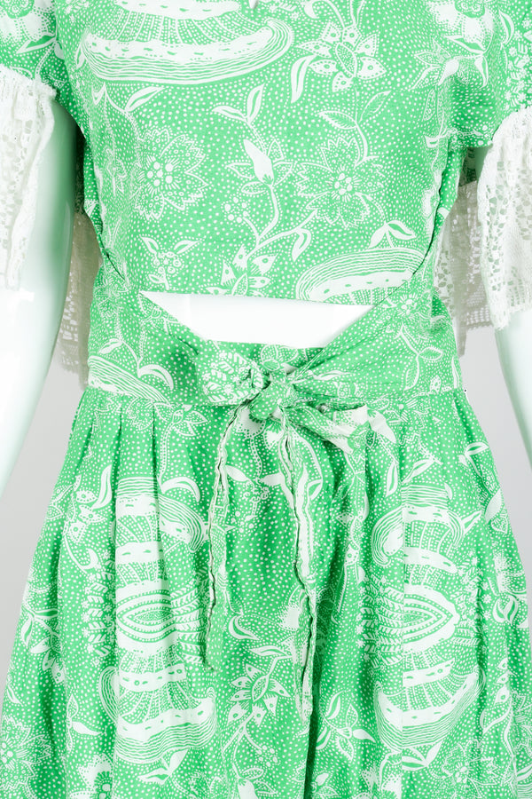 Vintage Greta Plattry for Teal Traina Butterfly Sleeve Frock Top & Skirt Set Bodice at Recess