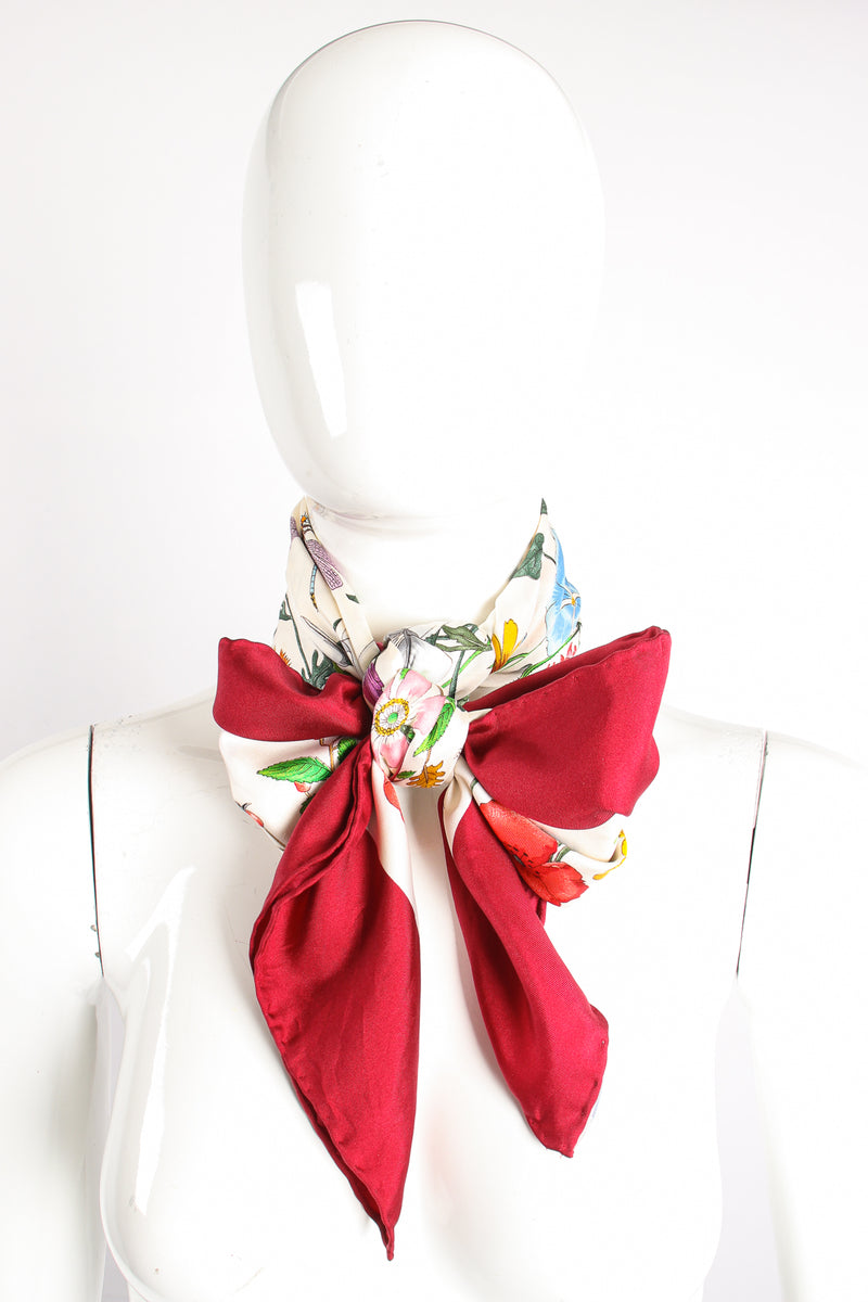 Vintage Gucci V.Accornero Burgundy Flora Scarf on Mannequin at Recess Los Angeles