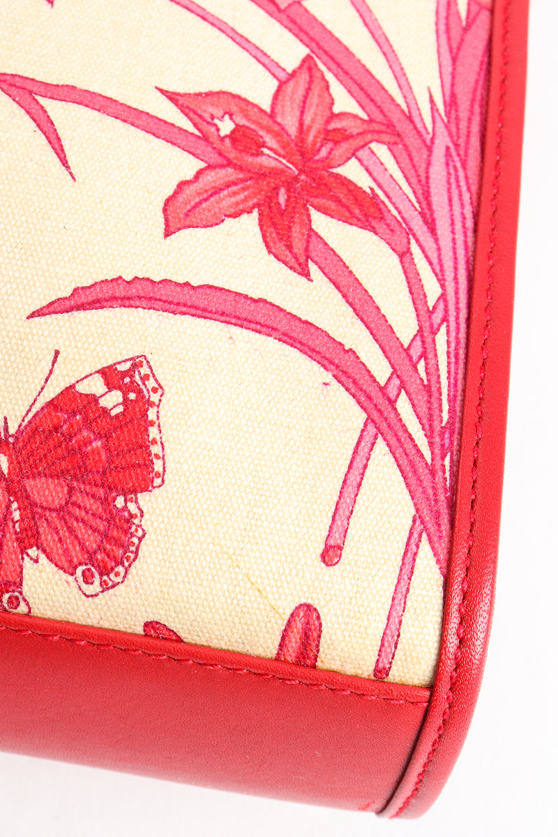 Vintage Gucci Red Flora Convertible Clutch Small color transfer at Recess Los Angeles