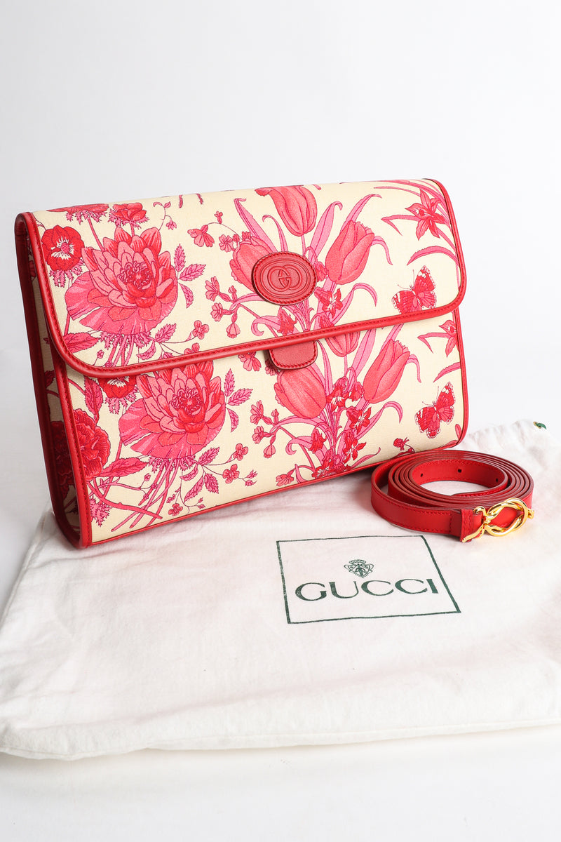 Vintage Gucci Red Flora Convertible Clutch bag with dust bag at Recess Los Angeles