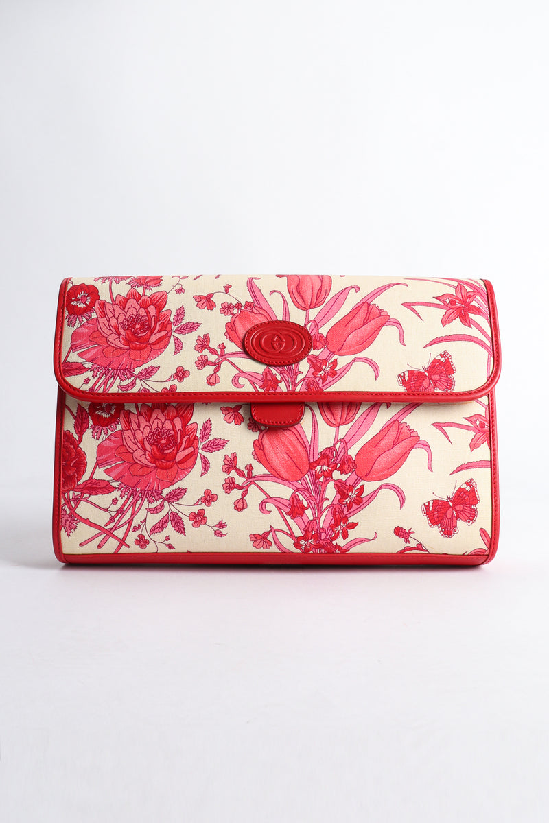 Vintage Gucci Red Flora Convertible Clutch Bag Front at Recess Los Angeles