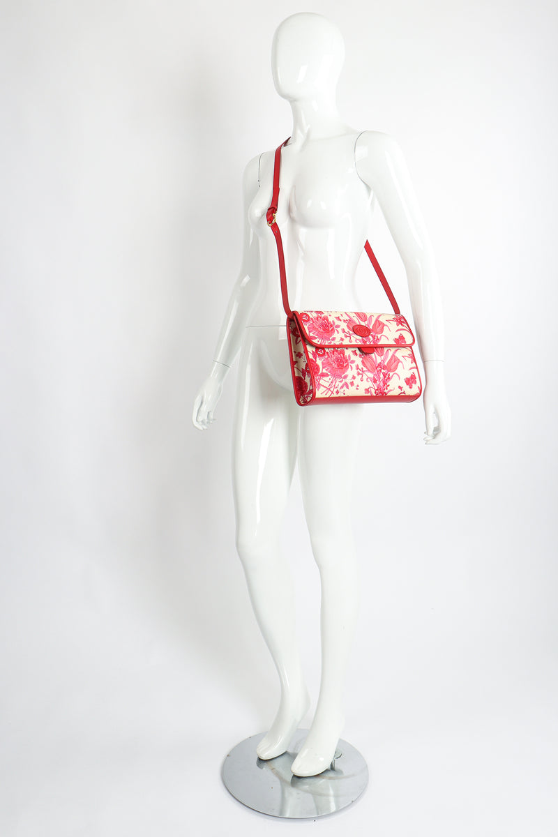 Vintage Gucci Red Flora Convertible Clutch on Mannequin Crossbody at Recess Los Angeles