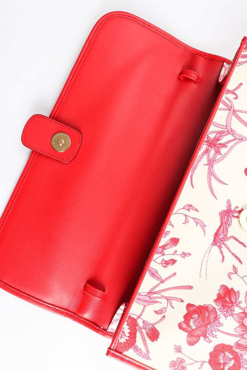 Vintage Gucci Red Flora Convertible Clutch inside flap at Recess Los Angeles