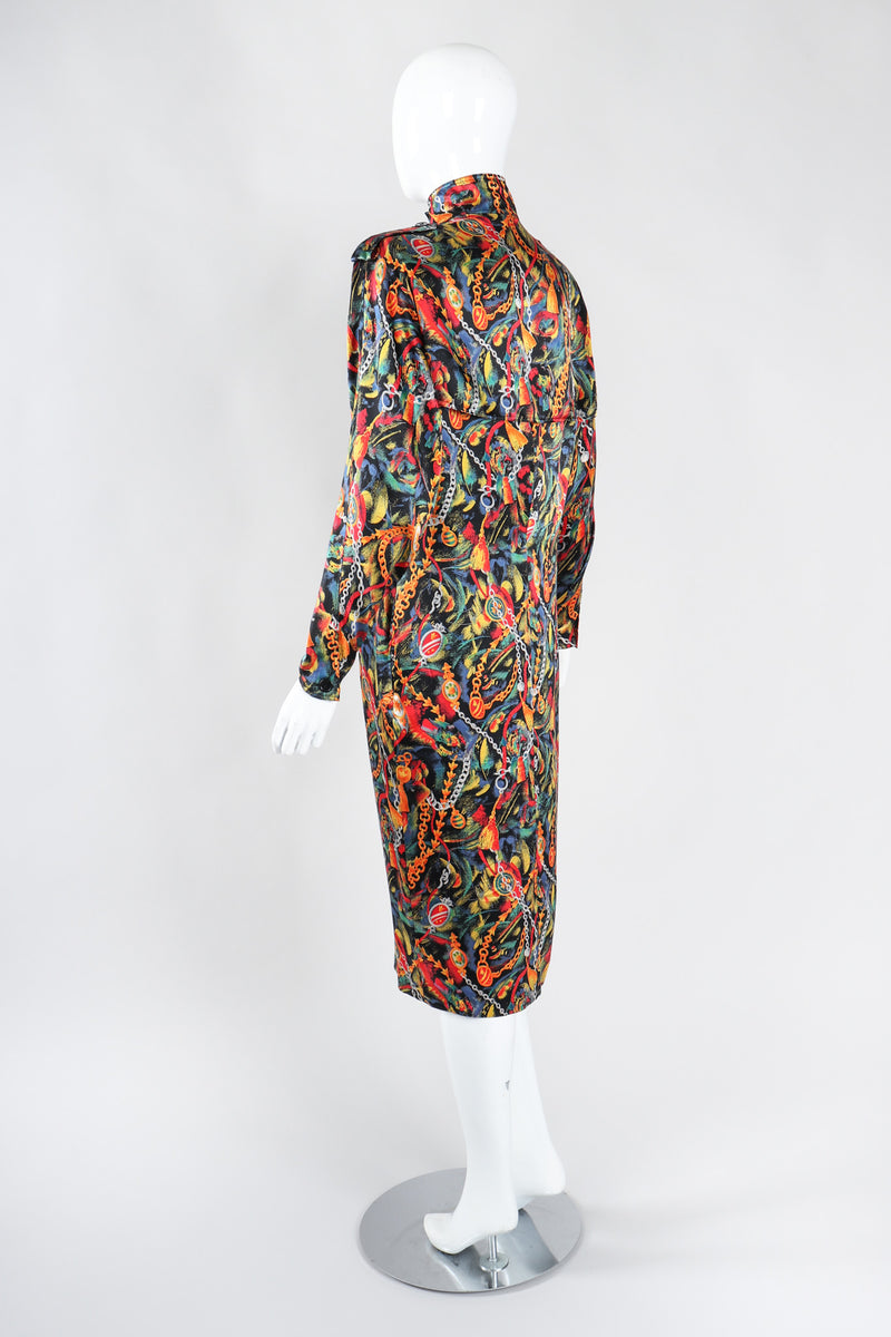 Recess Los Angeles Vintage Gucci Chain Print Silk Trench Shift Shirt Dress