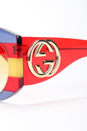 Recess Designer Consignment Gucci GG0177S Rounded Stripe Sunglasses Los Angeles Resale