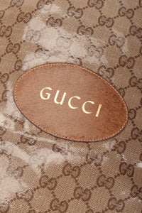 Recess Los Angeles Vintage Gucci Monogram Travel Shoe Tote Bag Coated Canvas Leather Handle Gold Letter Pressing