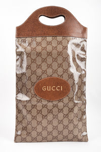 a Los Angeles Vintage Gucci Monogram Travel Shoe Tote Bag Coated Canvas Leather Handle Gold Letter Pressing