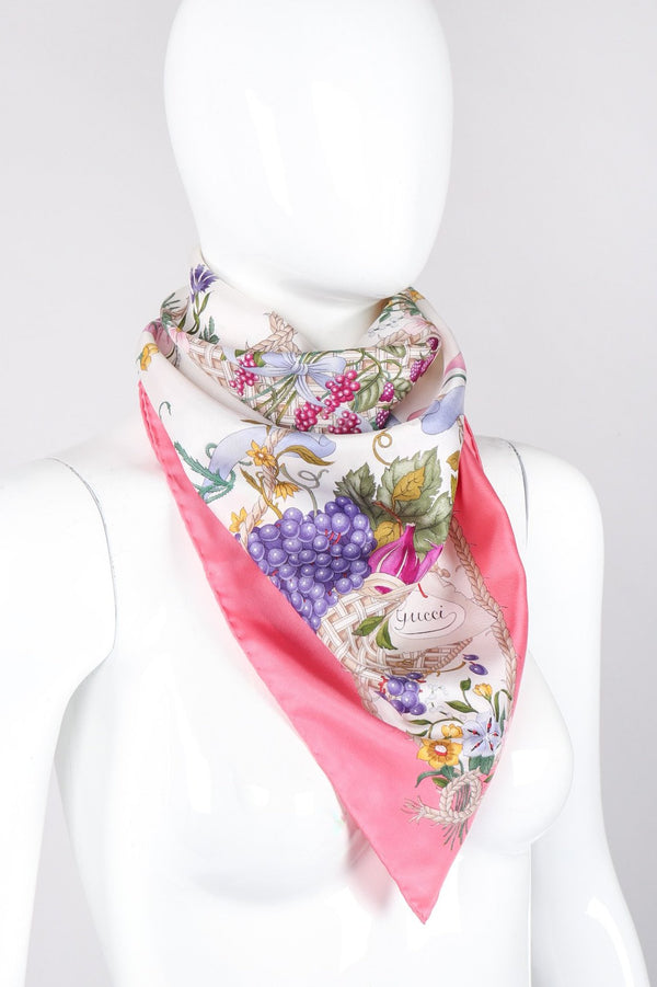 Recess Los Angeles Vintage Gucci Vittorio Accornero Floral Butterfly Scarf