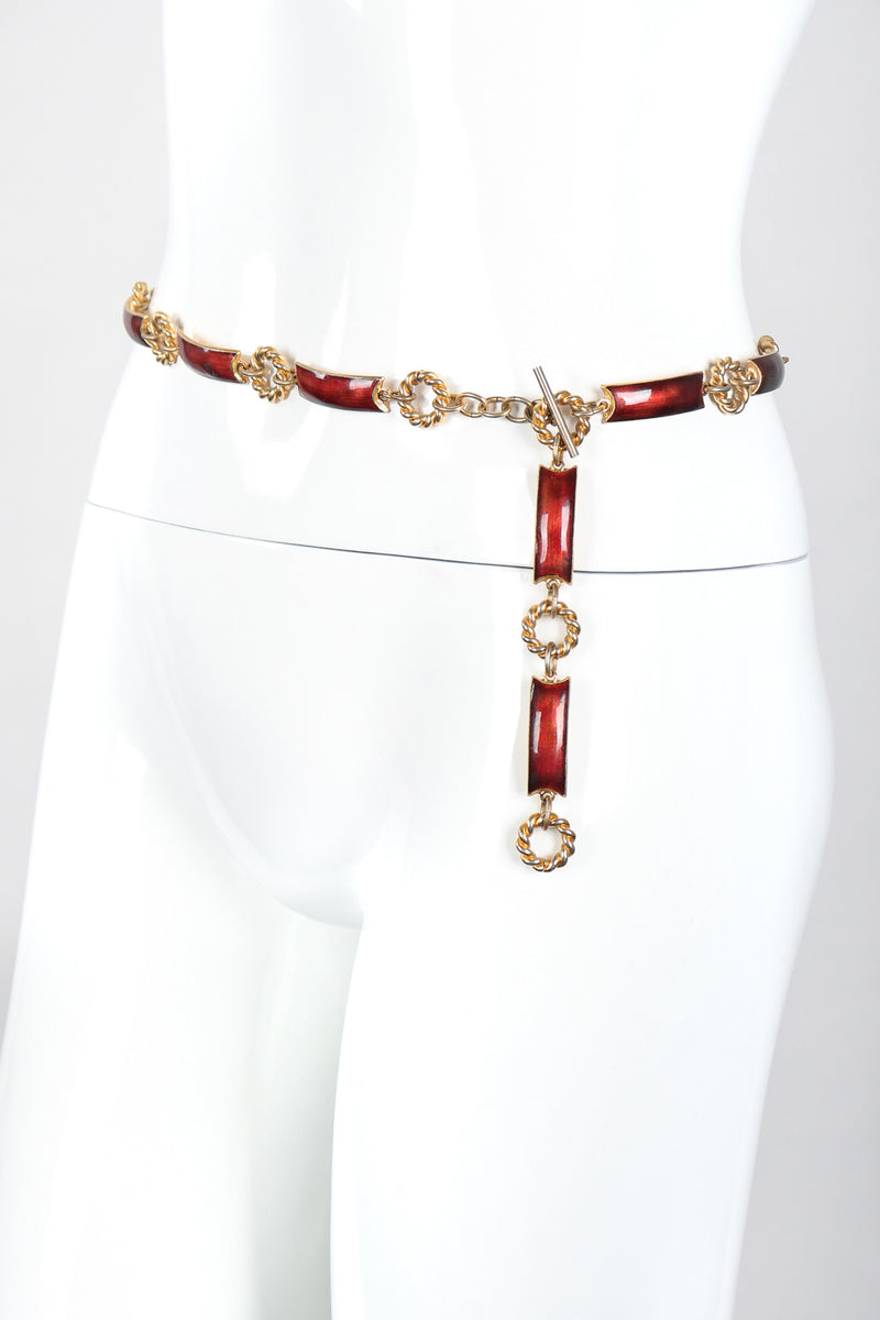Recess Designer Consignment Vintage Gucci Enamel Chain Belt Los Angeles Resale Recycled