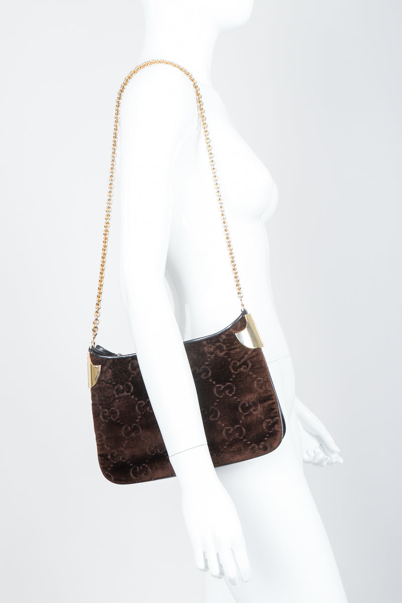 Vintage Gucci Brown Chenille Monogram Shoulder Bag on Mannequin at Recess