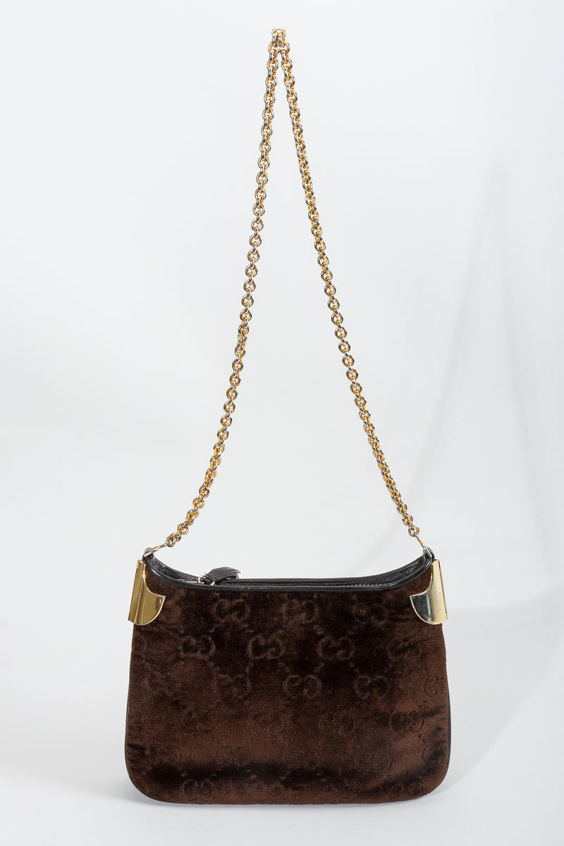Vintage Gucci Brown Chenille Monogram Shoulder Bag Front at Recess Los Angeles