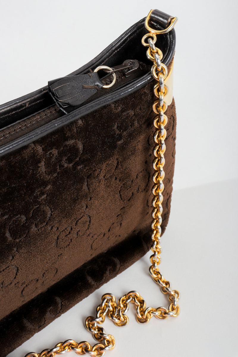 Vintage Gucci Brown Chenille Monogram Shoulder Bag Chain detail at Recess Los Angeles
