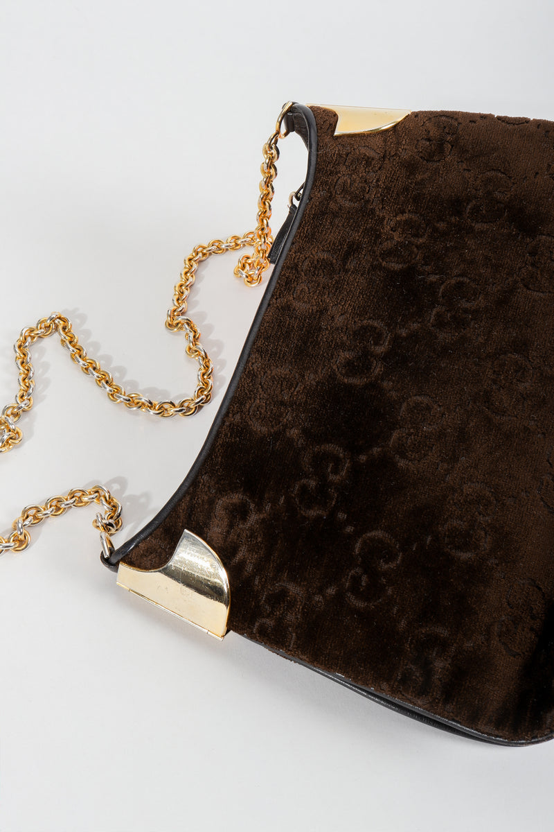 Vintage Gucci Brown Chenille Monogram Shoulder Bag at Recess Los Angeles