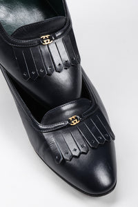 Recess Los Angeles Vintage Gucci Leather Fringe Flap Everyday Stacked Loafer Heels