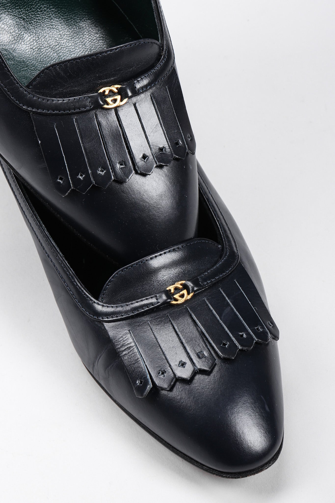 ed0e7b3c3bf Recess Los Angeles Vintage Gucci Leather Fringe Flap Everyday Stacked Loafer  Heels