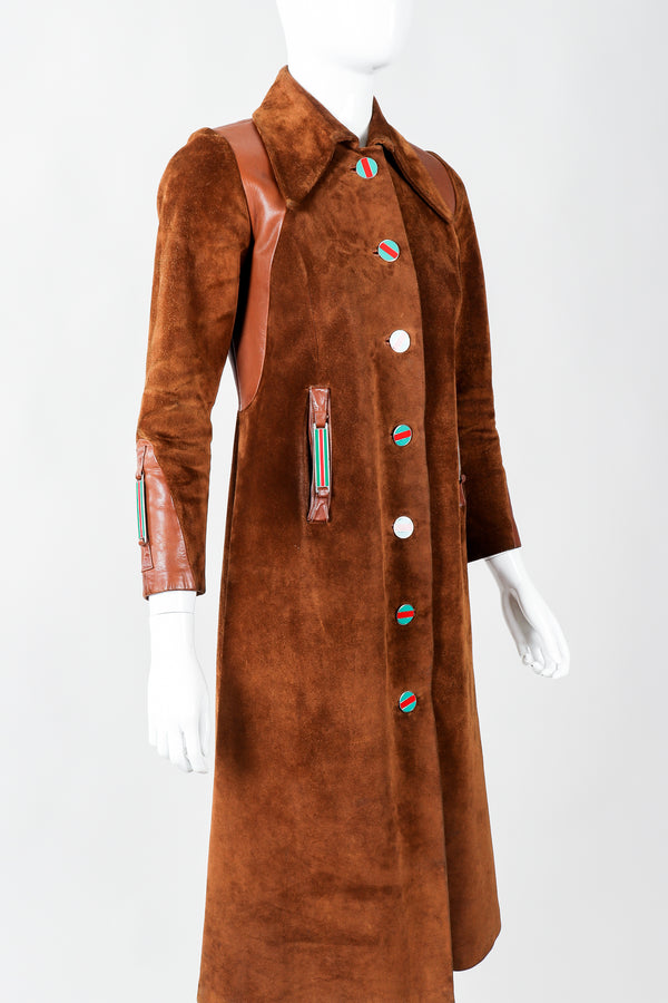 Vintage Gucci 1970s Cognac Suede Iconic Enamel Web Trench Coat on Mannequin cropped, at Recess