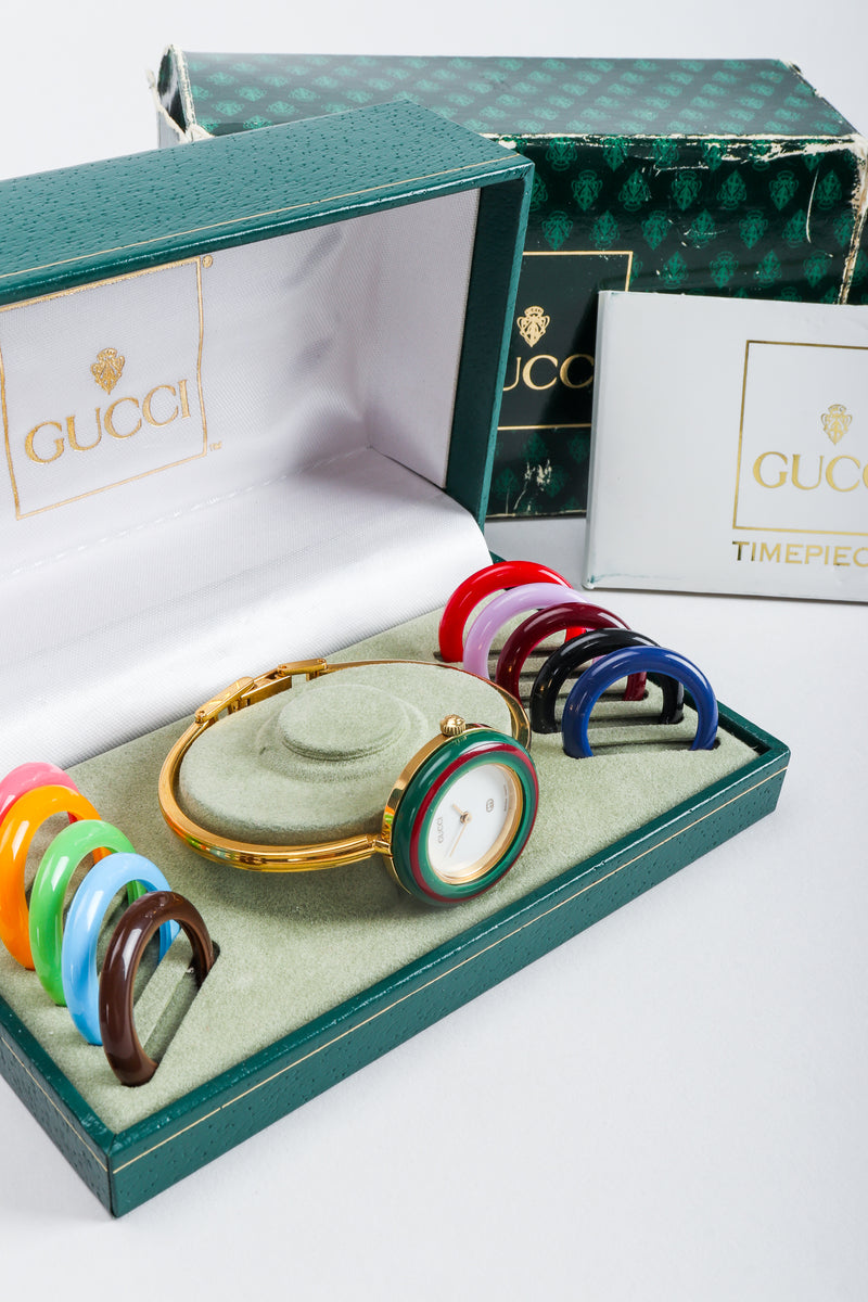 Vintage Gucci 1952 Boxed Bracelet Watch with Interchangeable Bezels with original warranty card