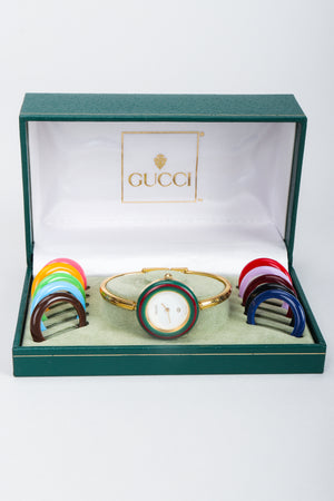 Vintage Gucci 1952 Boxed Bracelet Watch with Interchangeable Bezels in box at Recess Los Angeles
