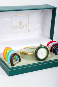 Vintage Gucci 1952 Boxed Bracelet Watch with Interchangeable Bezels in box