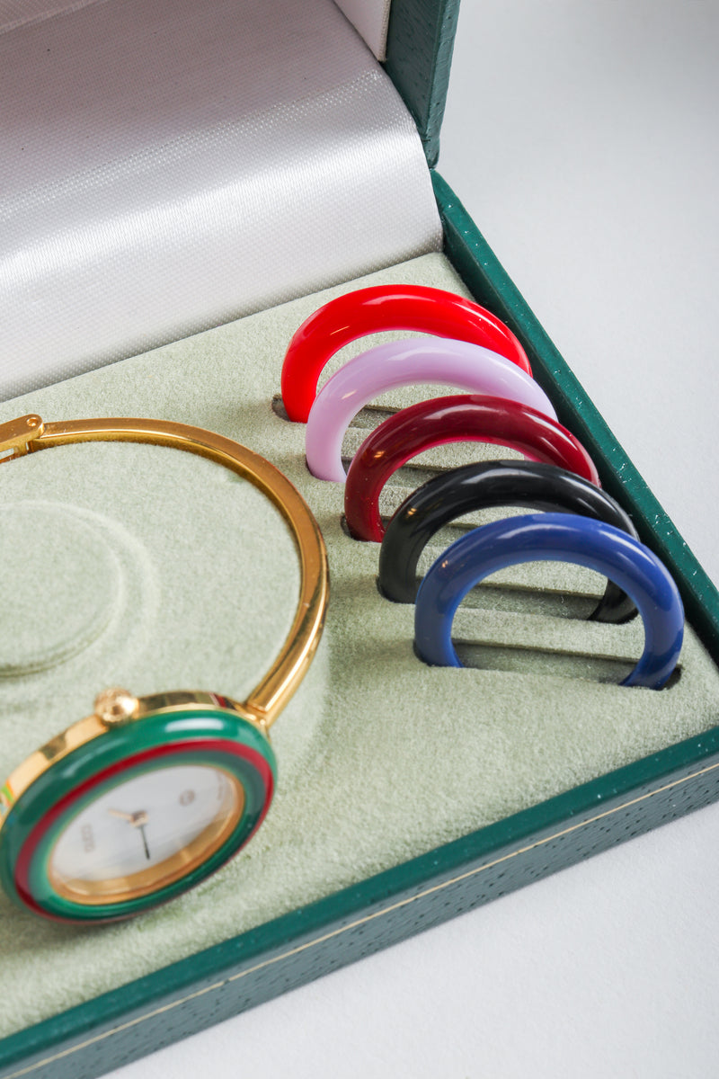 Vintage Gucci 1952 Boxed Bracelet Watch with Interchangeable Bezels, primary colors