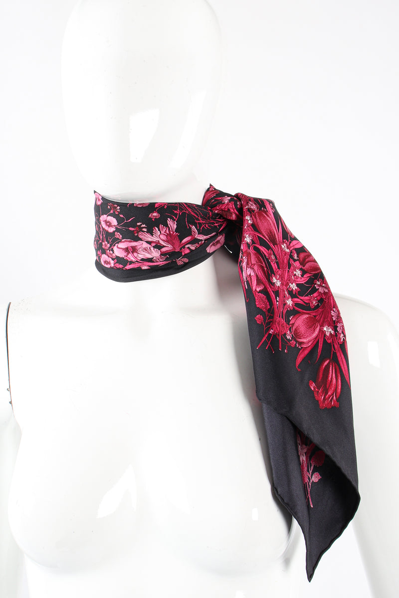 Vintage Gucci Burgundy Mono Flora Silk Scarf on Mannequin at Recess Los Angeles