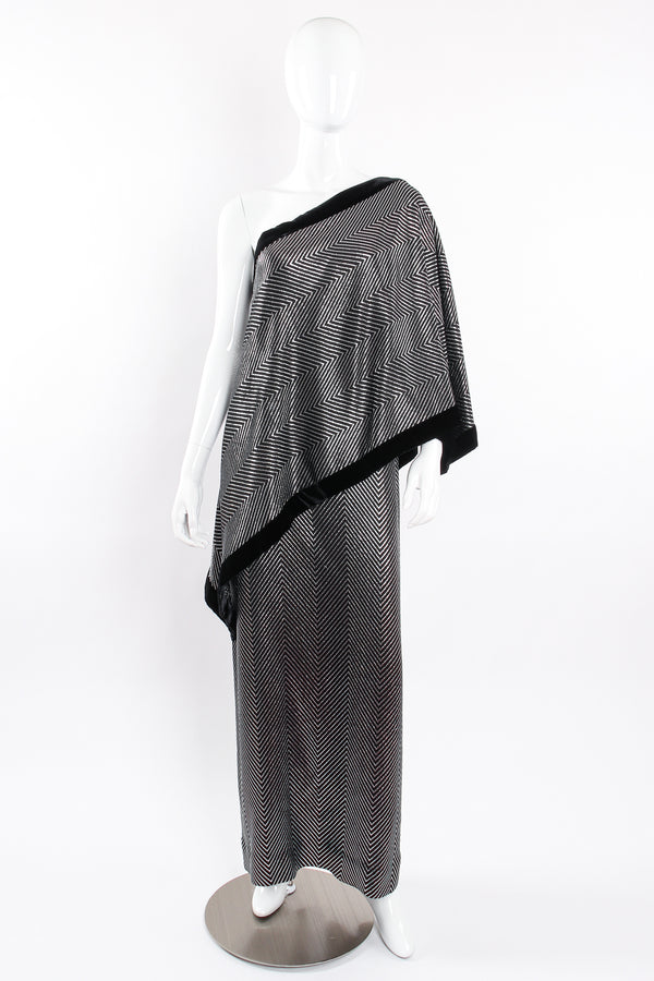 Vintage Gucci Metallic Silver Stripe Sari Shawl Dress on mannequin front at Recess Los Angeles