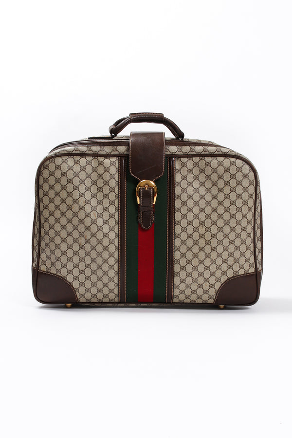 Vintage Gucci Monogram Stripe Suitcase front at Recess Los Angeles