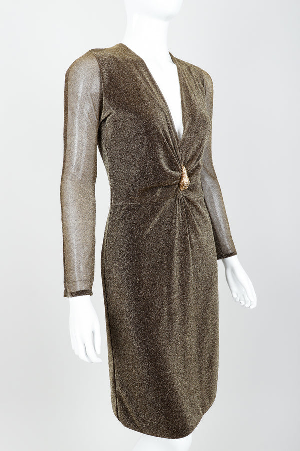 Vintage Gucci Tom Ford A/W 2000 Gold Lamé Dionysus Dress on Mannequin angle crop at Recess LA