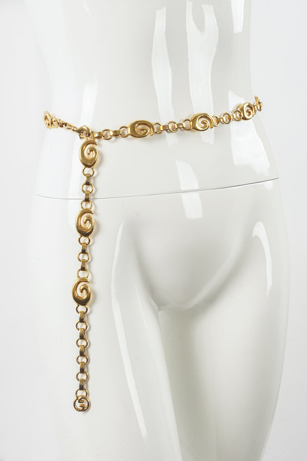 Vintage Gucci Gold G Swirl Chain Belt on Mannequin at Recess Los Angeles