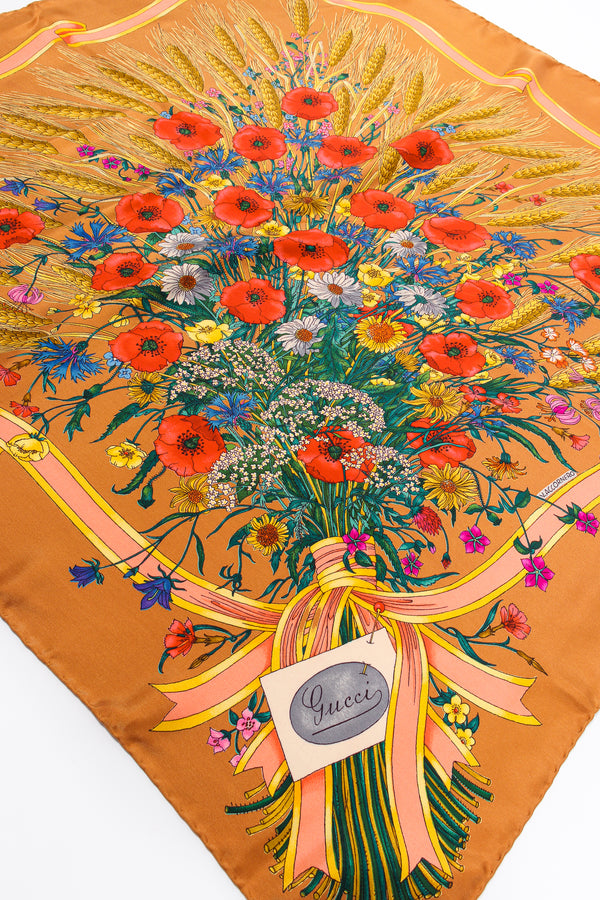 Vintage Gucci V. Accornero Wildflower Wheat Floral Bouquet Scarf at Recess Los Angeles