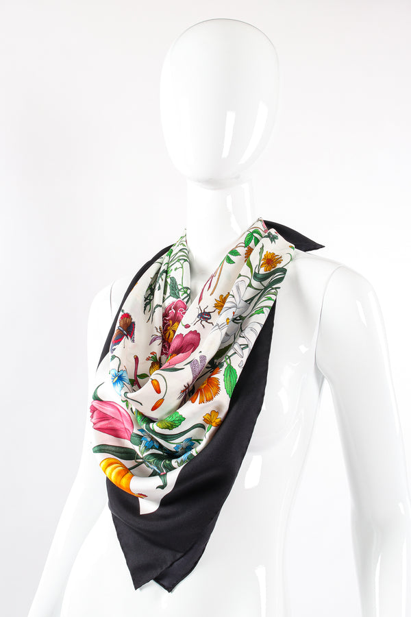Vintage Gucci Vittorio Accornero Black Flora Scarf on mannequin at Recess Los Angeles