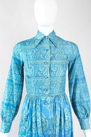 Recess Los Angeles Designer Consignment Vintage Gumps San Francisco Paisley Silk Shirtwaist Dress