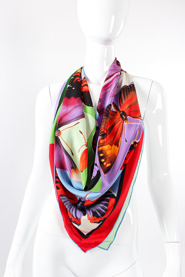 Vintage Guy Laroche Monarch Butterfly Mosaic Scarf on Mannequin at Recess Los Angeles