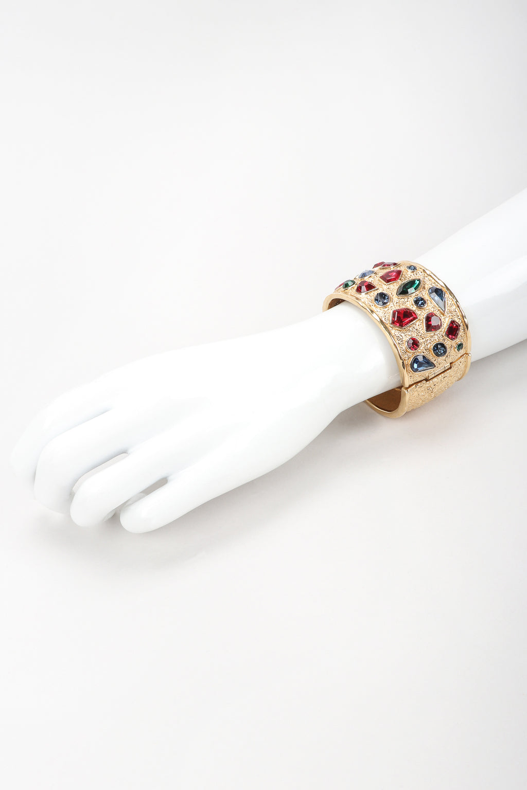 Recess Vintage Guy Laroche Gold Hinged Cuff Bracelet With Faux Gemstones on Mannequin Arm