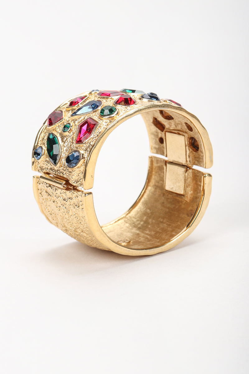 Recess Vintage Guy Laroche Gold Hinged Cuff Bracelet With Faux Gemstones Angled View