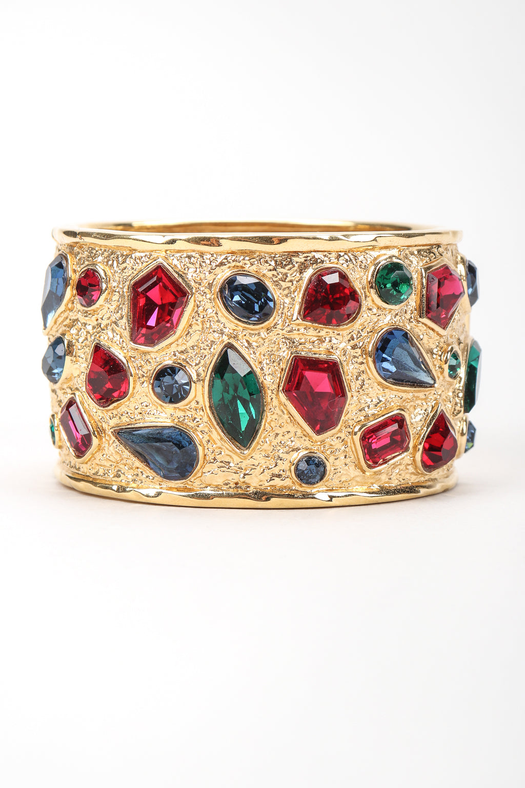 Recess Vintage Guy Laroche Gold Hinged Cuff Bracelet With Faux Gemstones, Front