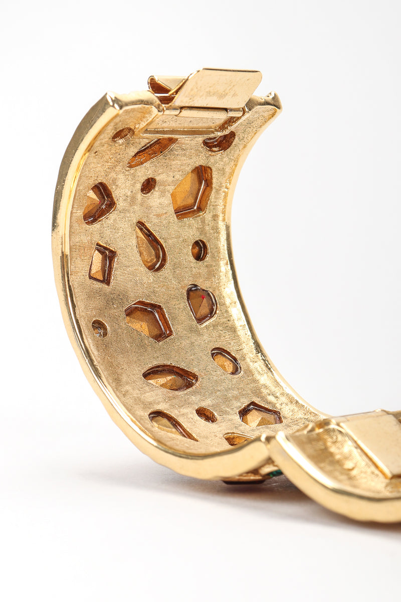 Recess Vintage Guy Laroche Gold Hinged Cuff Bracelet With Faux Gemstones, Inner Detail View