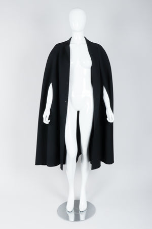 Vintage Halston Long Black Wool Cape open on Mannequin At Recess Los Angeles