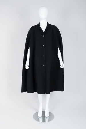 Vintage Halston Long Black Wool Cape on Mannequin At Recess Los Angeles