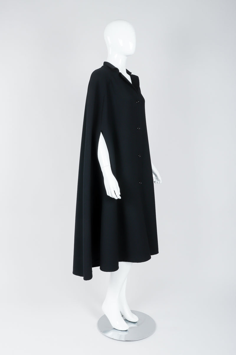 Vintage Halston Long Black Wool Cape side view on Mannequin At Recess Los Angeles
